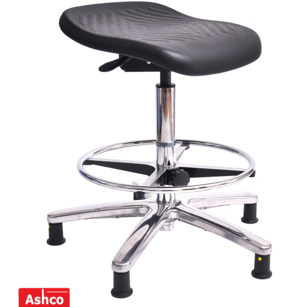 ESD PU square stool with medium gas lift, footring and glides